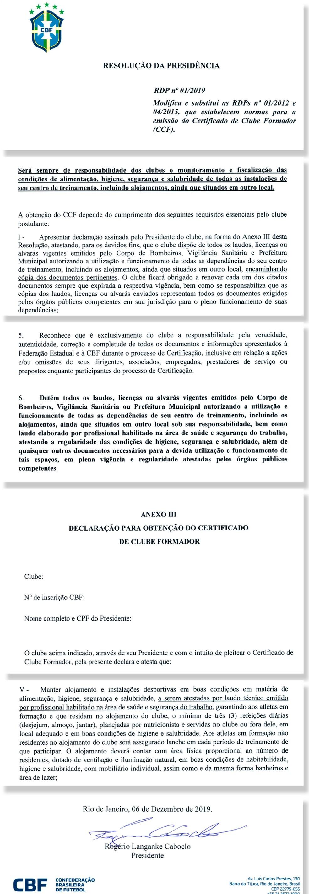 Trechos da resolução da presidência que torna mais rígida a emissão de certificado de clube formador — Foto: Reprodução