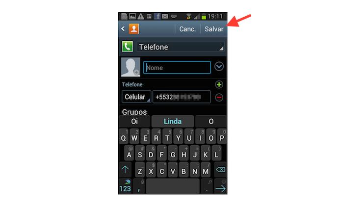 Adicionando um contato desconhecido na agenda do Android através do Google Messenger (Foto: Reprodução/Marvin Costa)