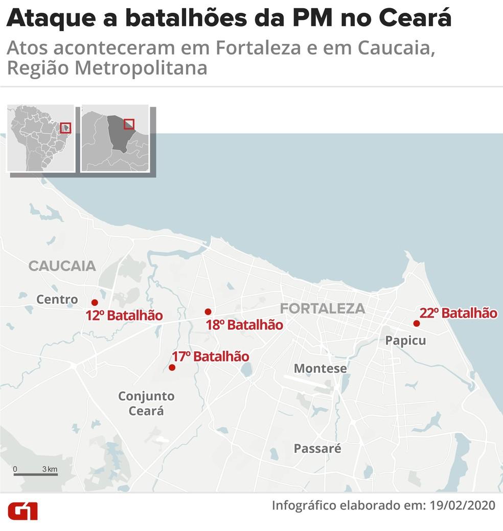 Batalhões de polícia atacados no Ceará — Foto: Arte/G1