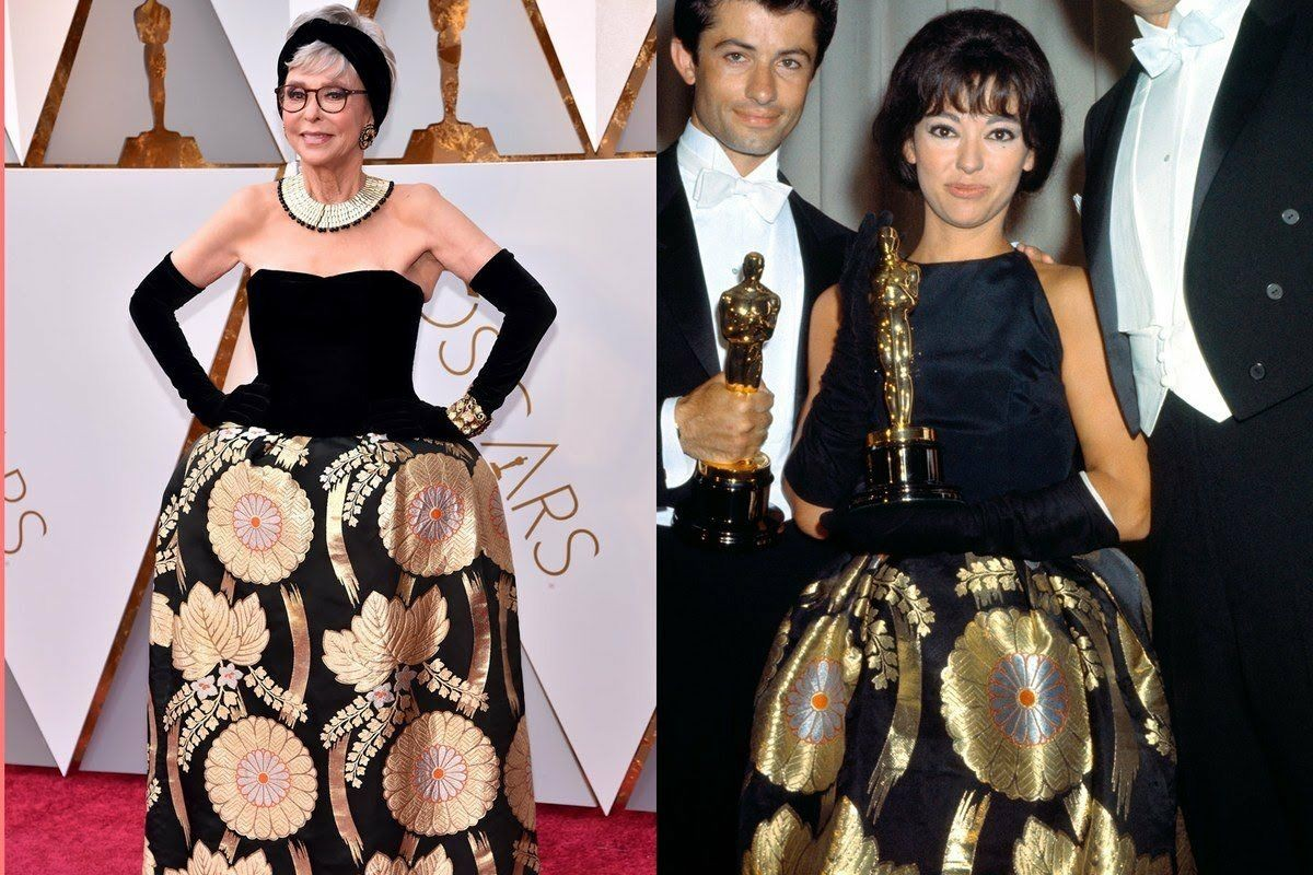 Oscar 2018: Rita Moreno repete vestido que usou ao vencer a premiação em 1962 (Foto: Divulgação)