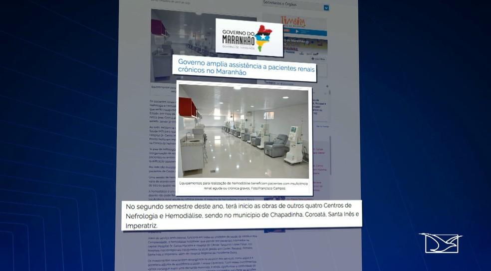 No ano passado, o Governo do Maranhão divulgou nota prometendo iniciar a construção das clínicas de Chapadinha, Coroatá, Santa Inês e Imperatriz no mesmo ano. (Foto: Reprodução/TV Mirante)