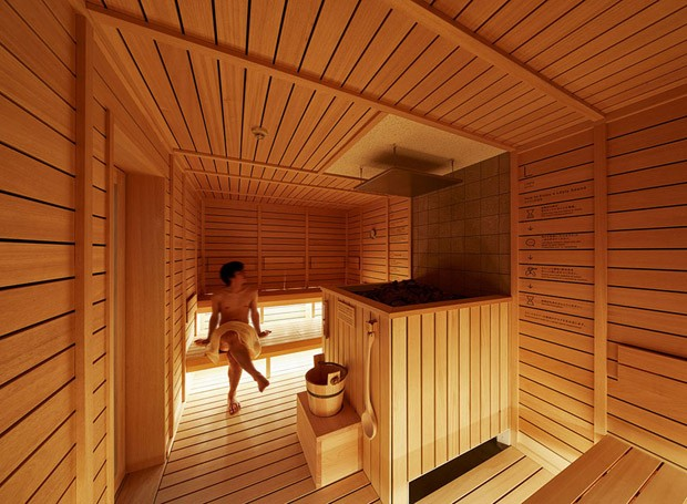 Hotel-cápsula no Japão ganhou saunas no primeiro e sétimo andar (Foto: Reprodução/Nacása & Partners Inc.)