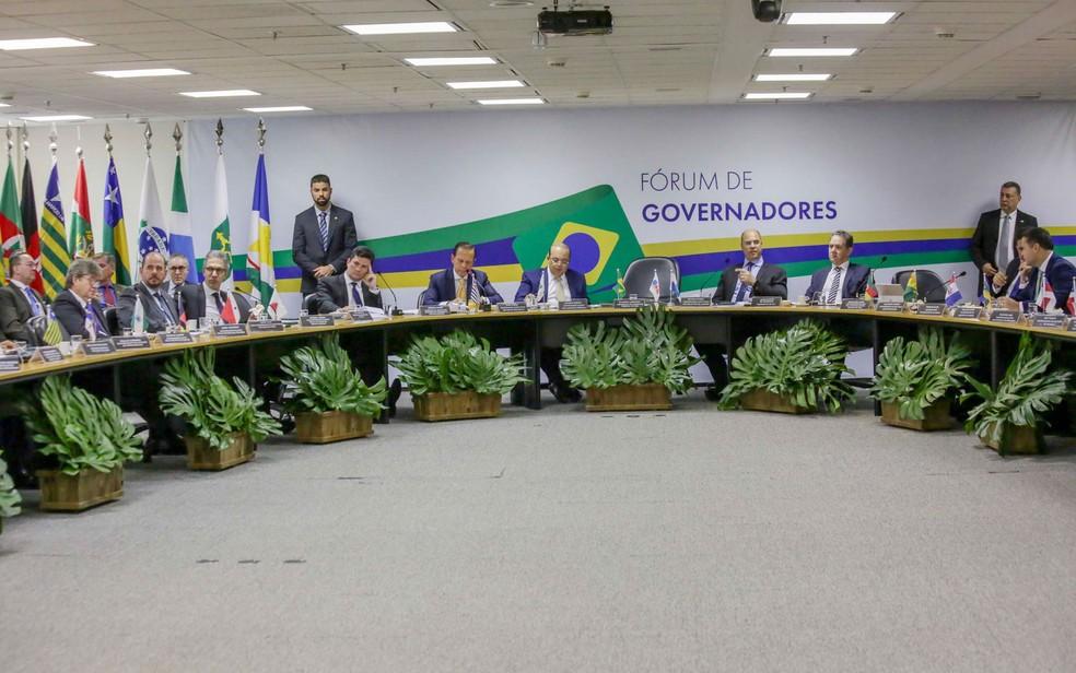 Governadores eleitos foram a Brasília para reunião com Sérgio Moro, futuro ministro da Justiça, e Dias Toffoli, presidente do STF — Foto: Fátima Meira/Futura Press/Estadão Conteúdo