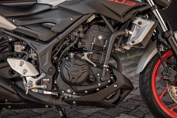 Motor bicilíndrico de 321cm³ é liso e tem 42 cv a 10.750 e 3,01 a 9.000 rpm (Foto: Daniel das Neves / Autoesporte)
