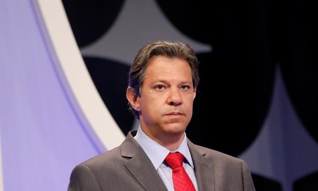 O candidato Fernando Haddad em debate no SBT