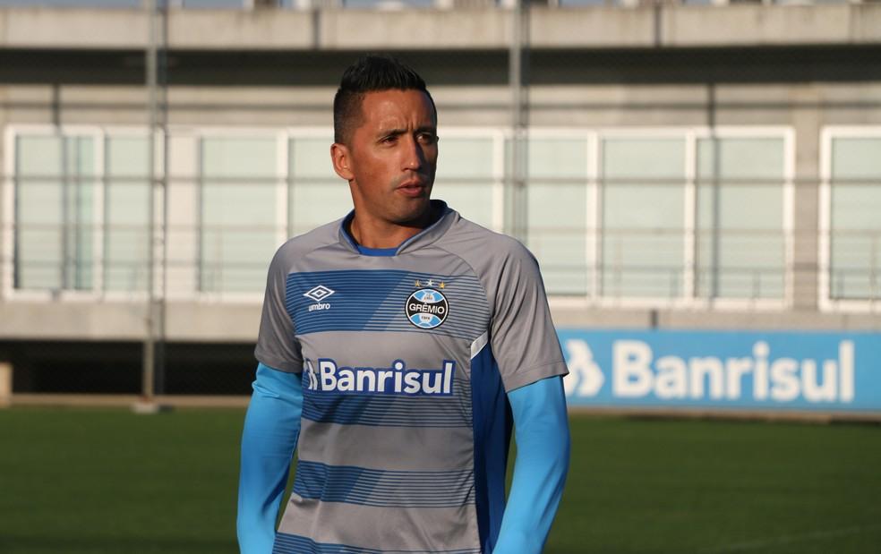 Lucas Barrios fez 13 dos 17 gols na Arena (Foto: Eduardo Moura/GloboEsporte.com)