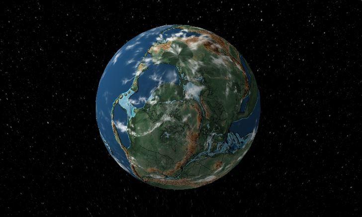 Mapa interativo mostra a evolução da Terra nos últimos 750 milhões de anos (Foto: Reprodução/Ancient Earth)