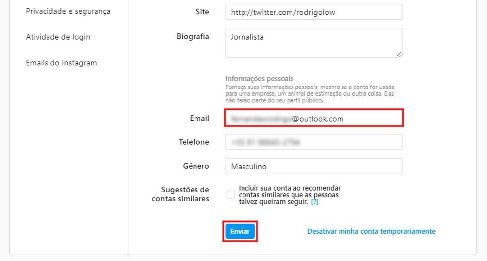Mudando o e-mail do Instagram pelo computador — Foto: Reprodução/Rodrigo Fernandes