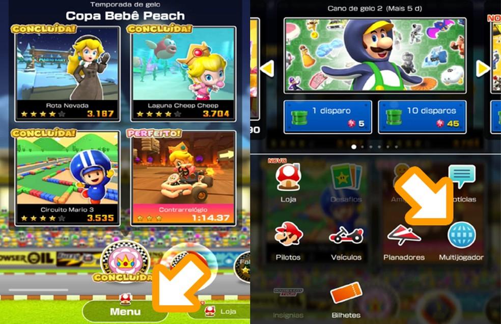 Abra o menu de Mario Kart Tour e selecione a opção Multijogador para jogar o modo multiplayer — Foto: Reprodução/Rafael Monteiro