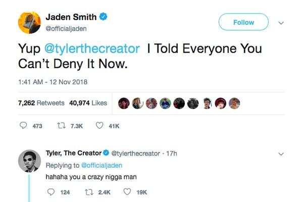 A resposta de Tyler, The Creator à revelação feita por Jaden Smith sobre o namoro dos dois (Foto: Twitter)