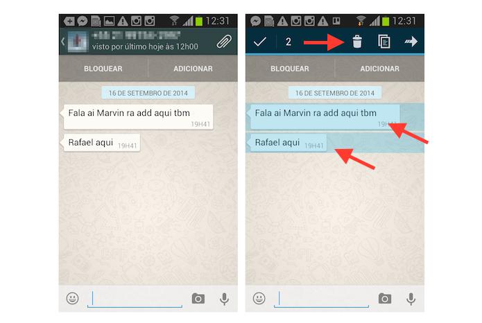 Selecionando conversas para apagar simultaneamente no WhatsApp no Android (Foto: Reprodução/Marvin Costa)