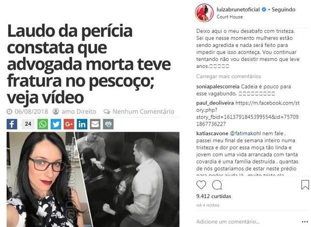 Post de Luiza Brunet pedindo justiça ao casao de Tatiane Spitzner  (Foto: Reprodução/Instagram)