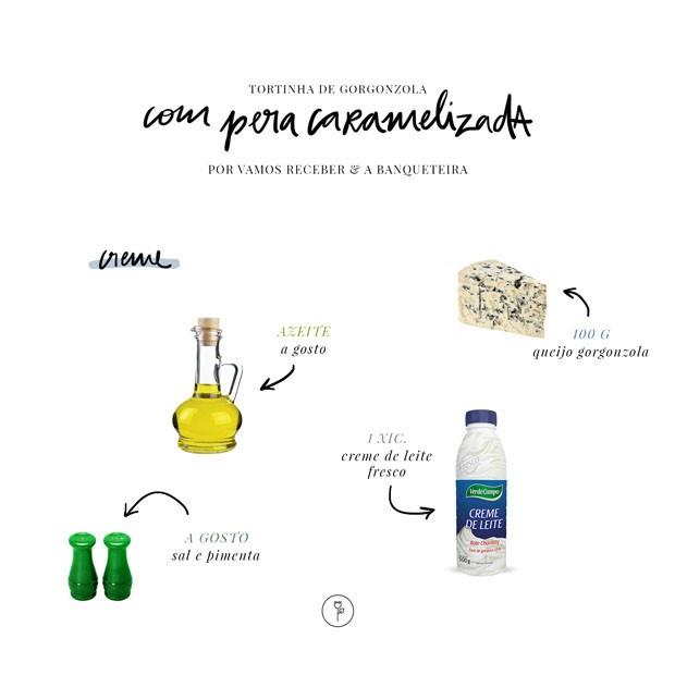 Receita: tortinha de gorgonzola com pera caramelizada (Foto: Arte Studio MR Jobim)
