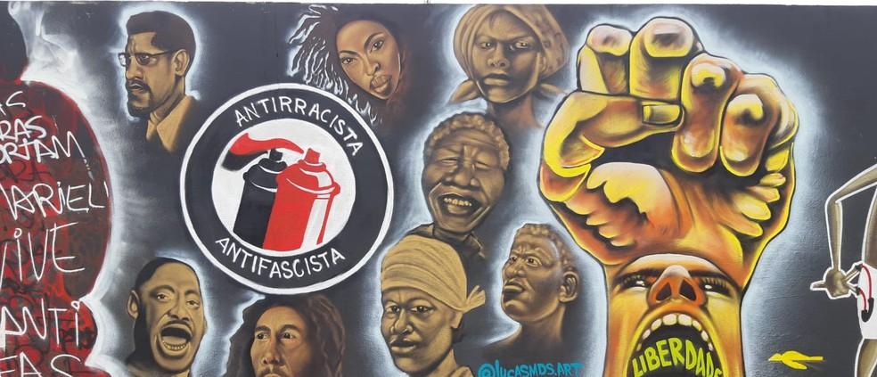 Mural criado por artistas potiguares foi apagado — Foto: Cedida