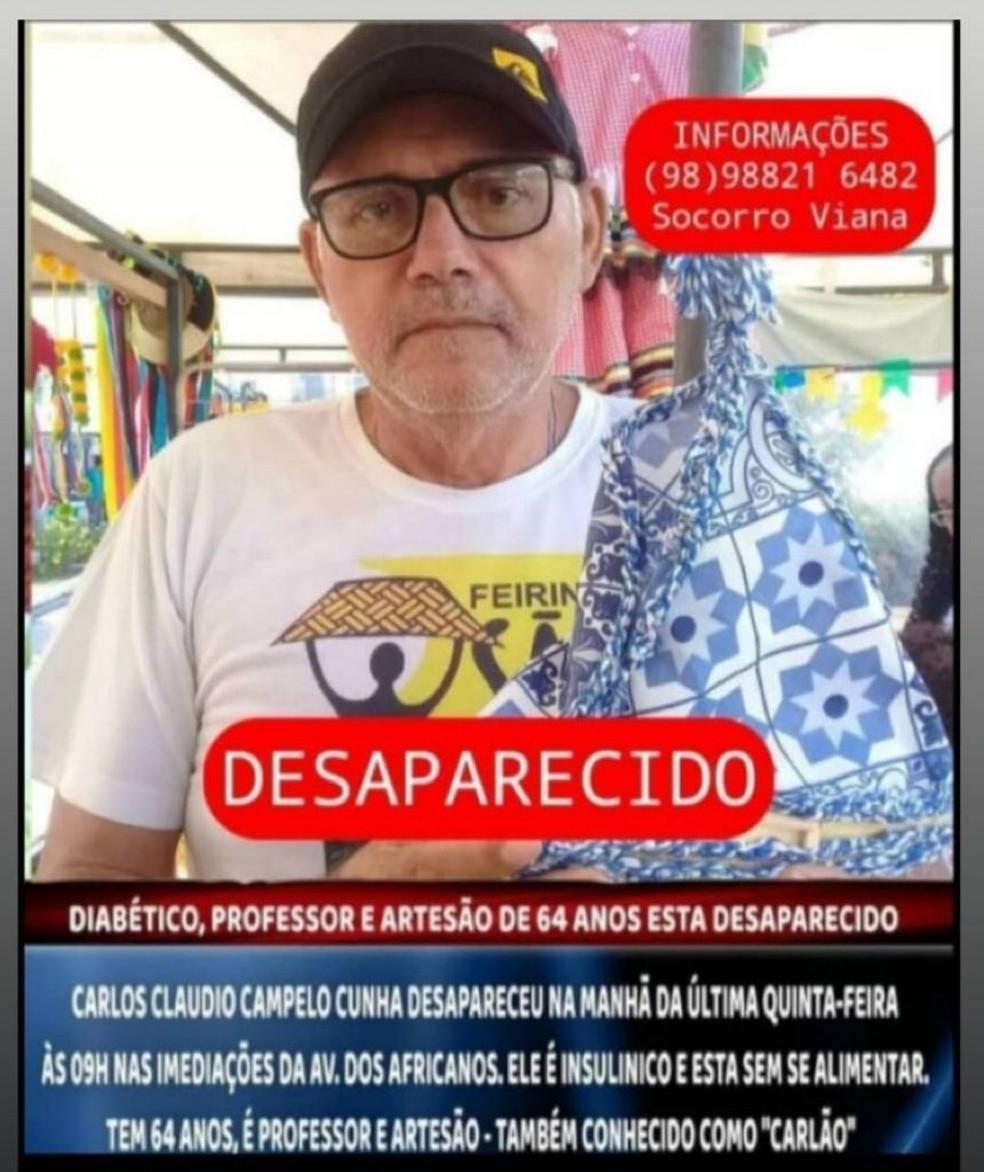 Família procura por professor desaparecido há quatro dias em São Luís — Foto: Divulgação