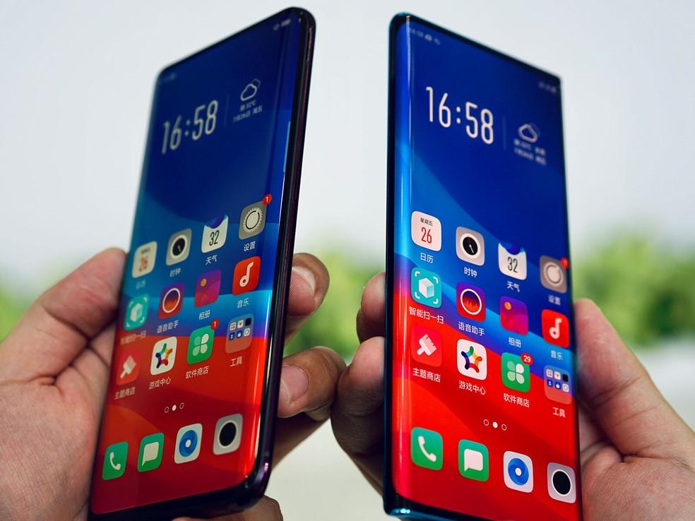 Imagem compara tela do protótipo (à direita) com o Find X (esquerda) — Foto: Divulgação/Oppo