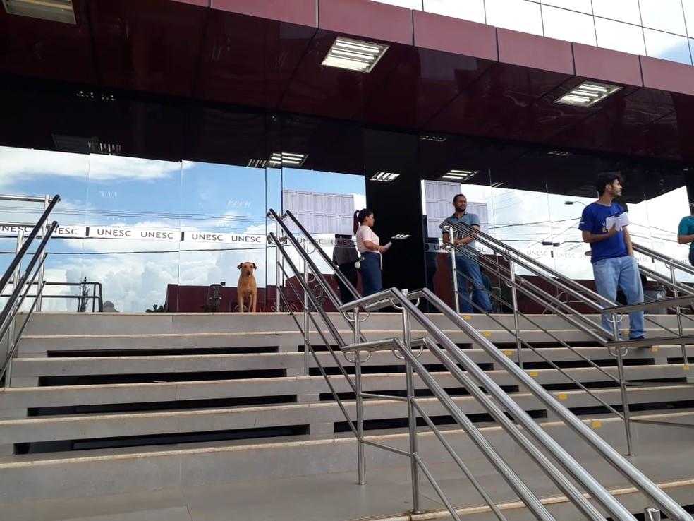 Rex não saiu da porta do local de prova enquanto a dona não voltava.   — Foto: Magda Oliveira/G1