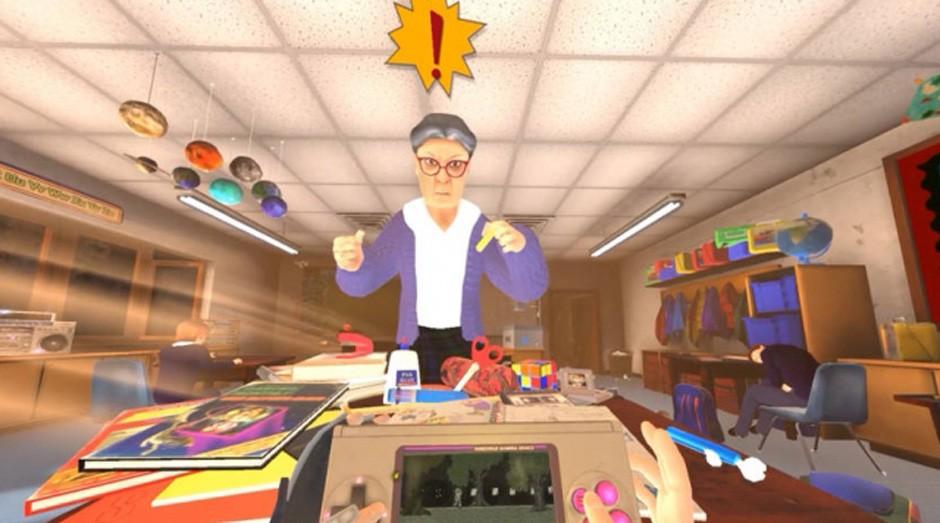 Em Pixel Ripped 1989, jogador tem duas tarefas: salvar um mundo mágico em seu videogame portátil ao mesmo tempo em que distrai a professora. Às vezes não dá certo (Foto: Reprodução)