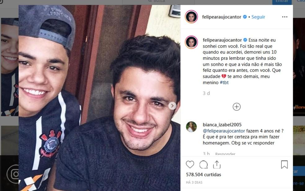Postagem de Felipe em homenagem ao irão teve mais de meio milhão de curtidas — Foto: Redrodução/Instagram