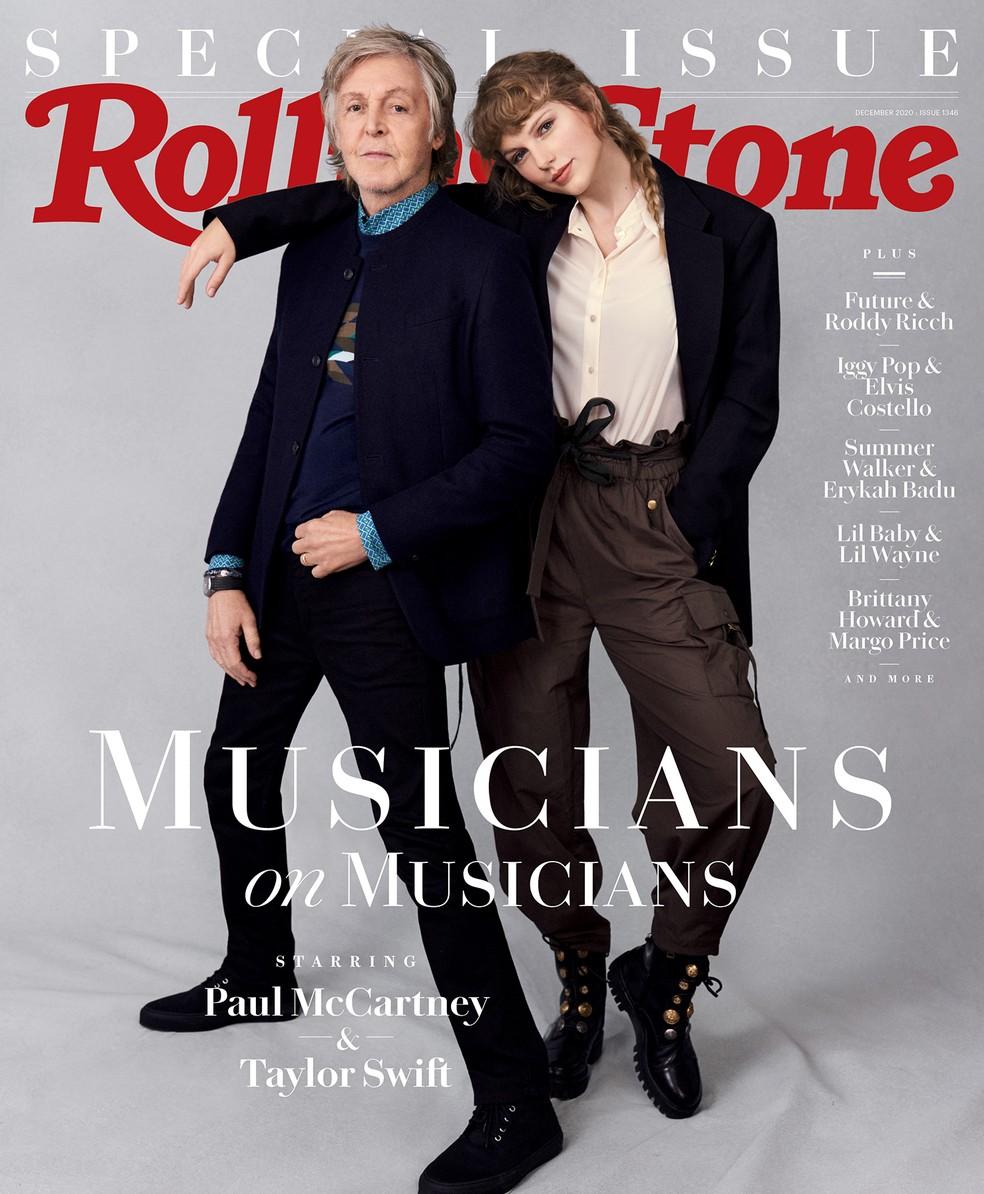 Paul McCartney e Taylor Swift aparecem juntos em capa da Rolling Stone e falam sobre álbuns feitos no isolamento — Foto: Reprodução/Instagram