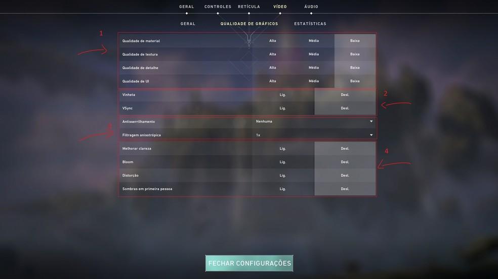 As principais mudanças estão neste menu — Foto: Reprodução/Valorant