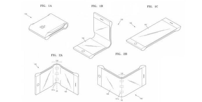 Imagens da patente mostram como seria o smartphone dobrável da Samsung (Foto: Reprodução/US Patents)