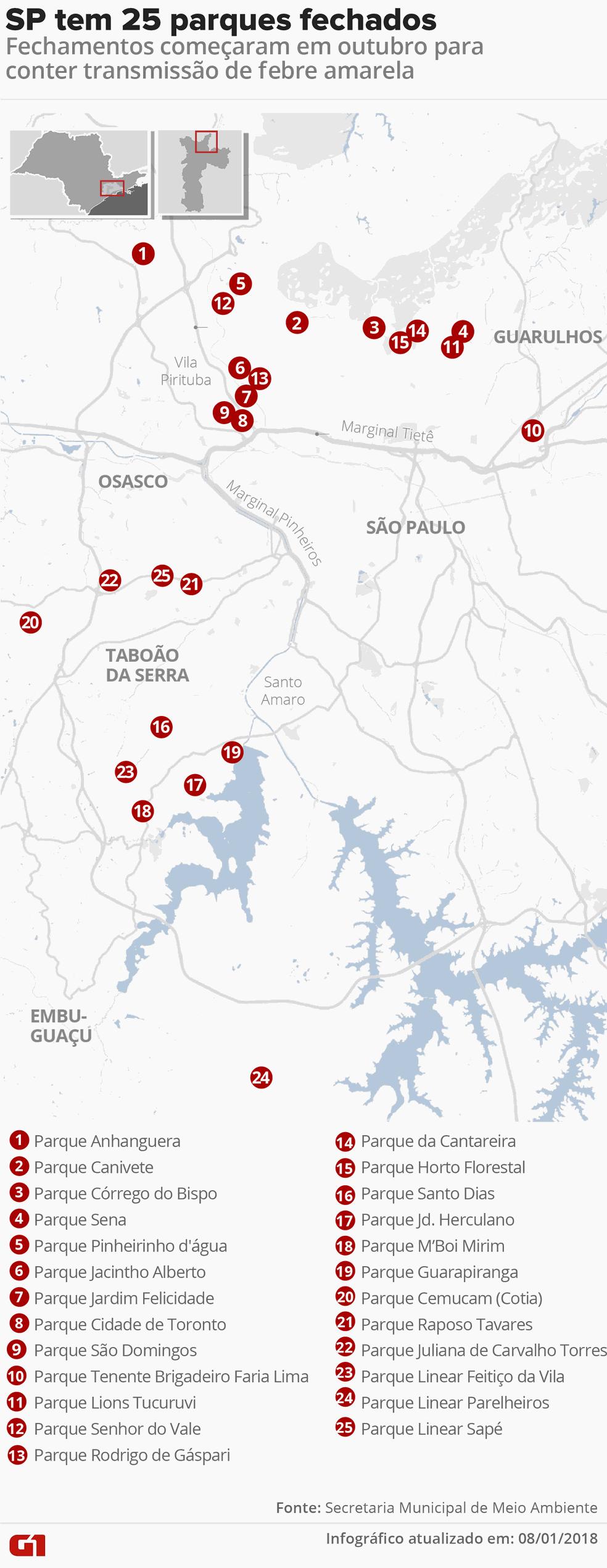 Mapa mostra lista de parques de SP fechados por causa da febre amarela (Foto: Roberta Jaworski/G1)