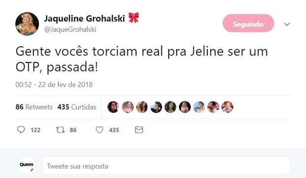 Jaqueline Grohalski se surpreende que fãs shippavam romance entre ela e Jéssica Mueller  (Foto: Reprodução/Twitter)