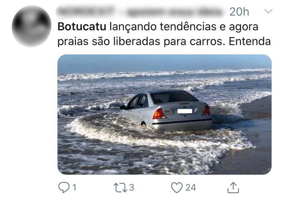 Internautas brincaram sobre a liberação do acesso de carros no shopping de Botucatu — Foto: Twitter/Reprodução
