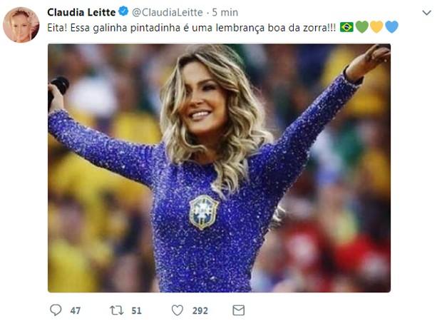 Claudia Leitte lembra participação na Copa 2014 (Foto: Reprodução/Twitter)
