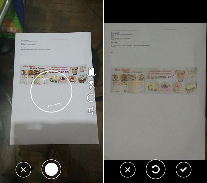 OneDrive abrirá a câmera do celular e usuário poderá refazer a imagem caso não goste do resultado (Foto: Reprodução/Elson de Souza)