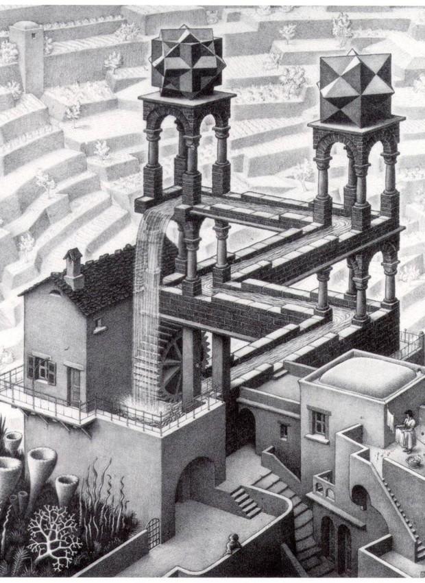 Obra Waterfall (1961) de Maurits Cornelis Escher (Foto: Pinterest/Reprodução)