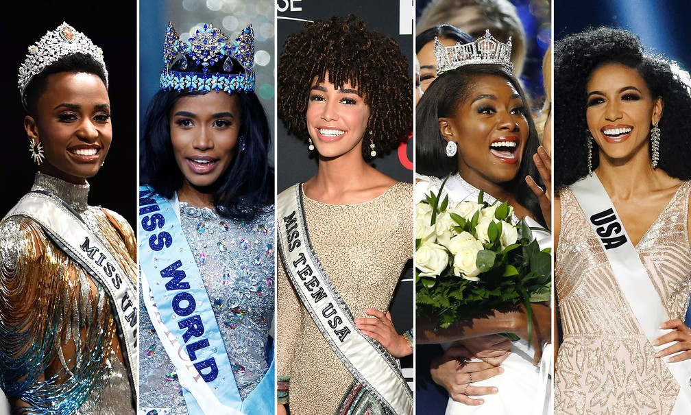 Da esquerda para a direita: a Miss Universo, Zozibini Tunzi, a Miss Mundo, Toni-Ann Singh, a Miss Teen USA, Kaliegh Garris, a Miss América, Nia Franklin, e a Miss USA, Cheslie Kryst. Beleza negra dominou concursos em 2019 — Foto: Paras Griffin /Getty Images via AFP; Henry Nicholls/Reuters; Noah K. Murray/AP; Elijah Nouvelage/Reuters