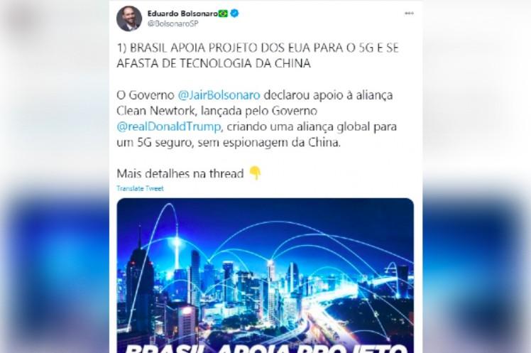 Eduardo Bolsonaro apaga tuíte em que fala de 'espionagem da China'