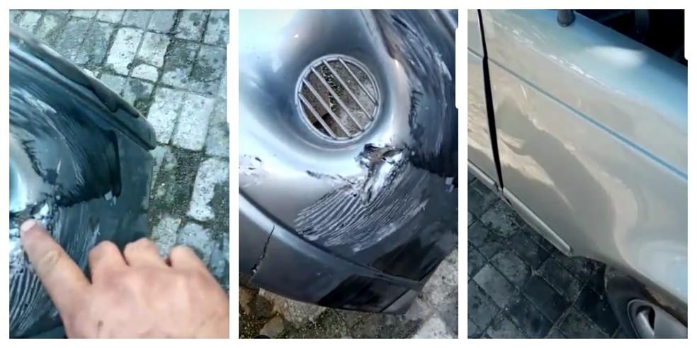 Imagens mostram carro antes do reparo — Foto: G1 Santos