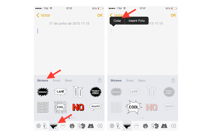 Acessando as GIFs do teclado virtual Emoji Keyboard by LINE para iPhone (Foto: Reprodu??o/Marvin Costa)