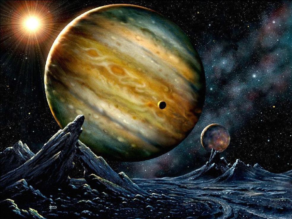 Concepção artística do exoplaneta HD 23079b  — Foto: David Hardy