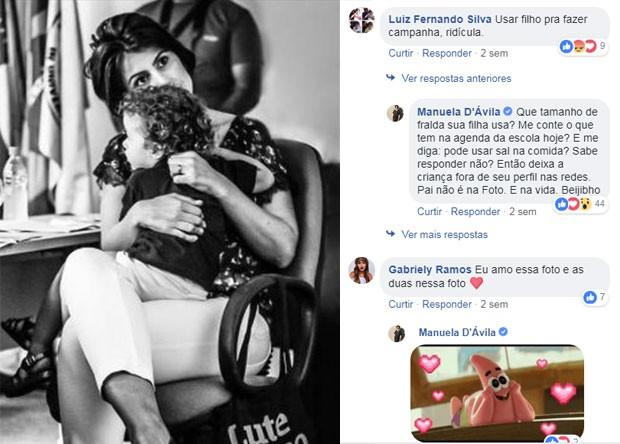 Foto de 25 de abril: uma das poucas vezes em que Manuela retrucou cometário machista (Foto: Reprodução Facebook)