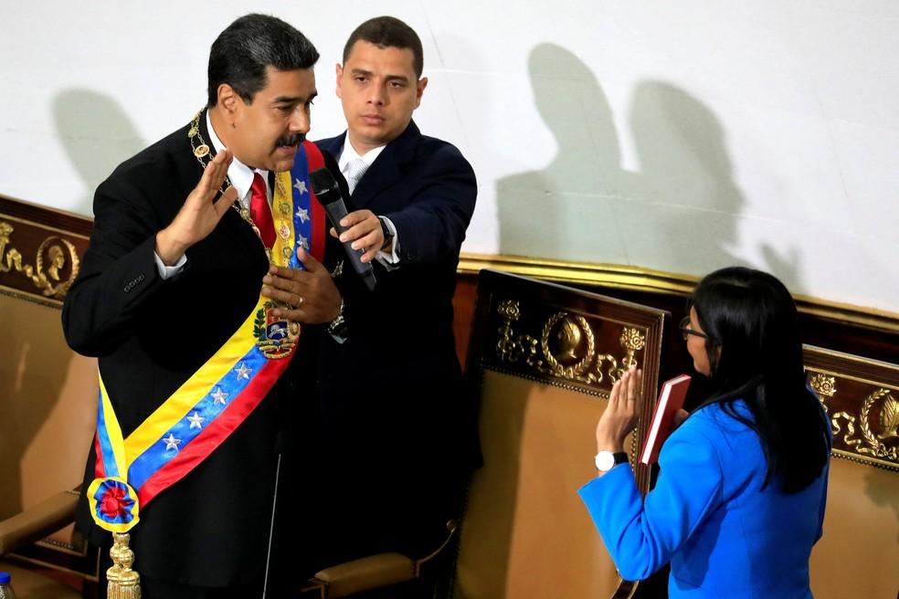 -  Nicolás Maduro faz juramento nesta quinta-feira  24  perante a Assembleia Constituinte como presidente reeleito na Venezuela  Foto: Marco Bello/Reute