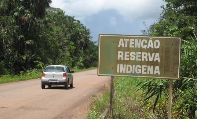 Entrada da terra indígena dos waimiri-atroari, em Roraima