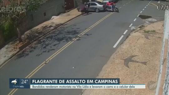 Câmeras de segurança flagram ação de suspeitos em roubo e furto de carros em Campinas