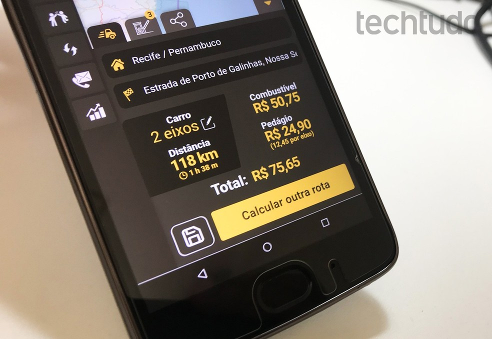QualP permite calcular pedágio e combustível necessários para uma viagem — Foto: Rodrigo Fernandes/TechTudo