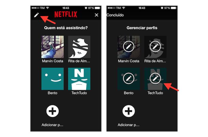 Editando perfis do Netflix pelo celular (Foto: Reprodução/Marvin Costa)