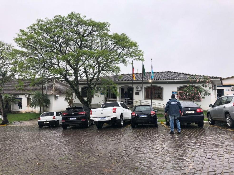 Operação do MP na Prefeitura de Dona Francisca em 2019 — Foto: Divulgação / Ministério Público