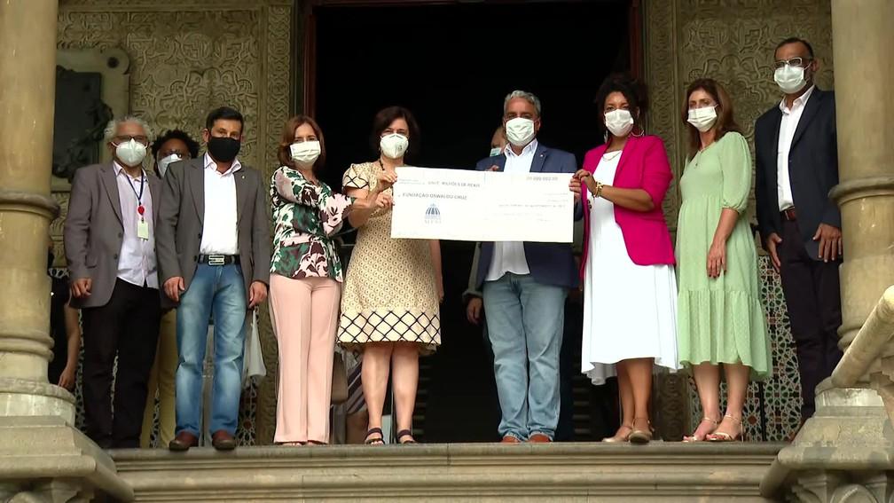 Alerj oficializou doação de R$ 20 milhões para a Fiocruz para ações de combate à pandemia da Covid-19 — Foto: Reprodução/ GloboNews