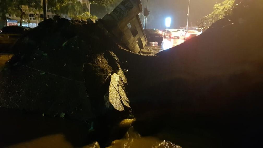 Gávea também sofreu com a chuva e os ventos fortes. Uma árvore tombou na Rua Artur Araripe — Foto: Gustavo Wanderley/G1
