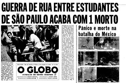 Primeira página do GLOBO do dia 4 de outubro de 1968