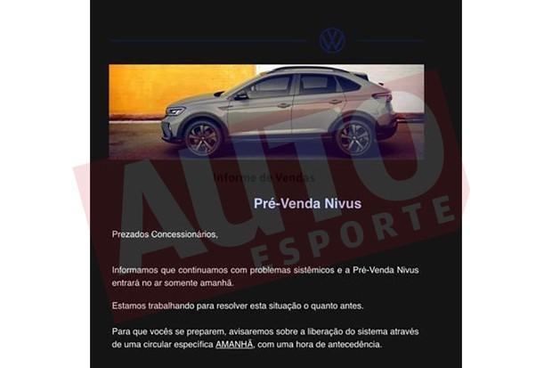 Falha no sistema de pré-venda do Volkswagen Nivus impediu as reservas (Foto: Autoesporte)