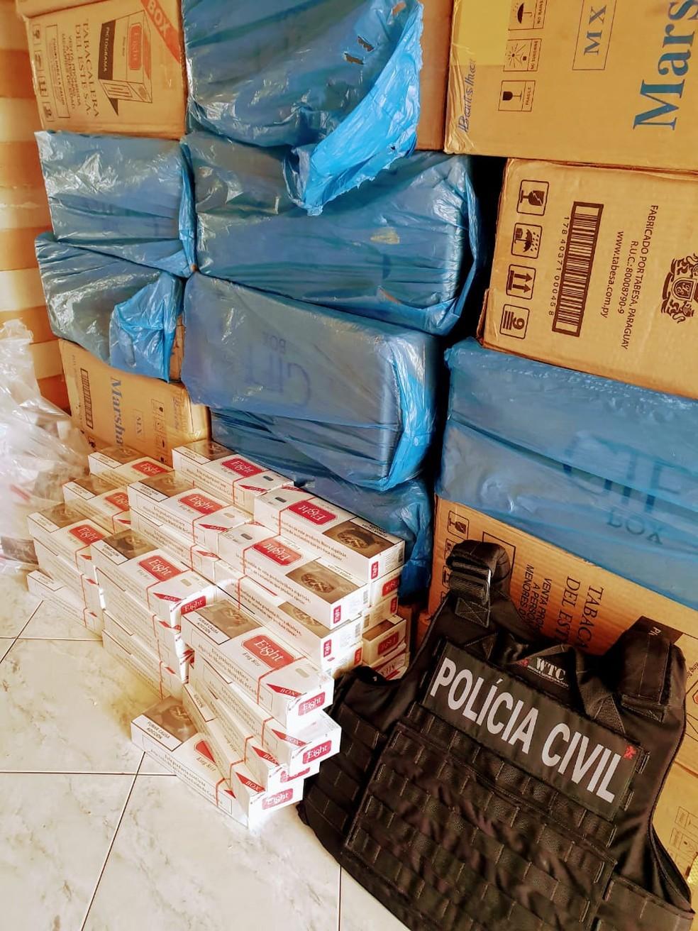 Carga de cigarros contrabandeados avaliada em R$ 40 mil é apreendida em Mombaça, no Ceará. — Foto: Reprodução