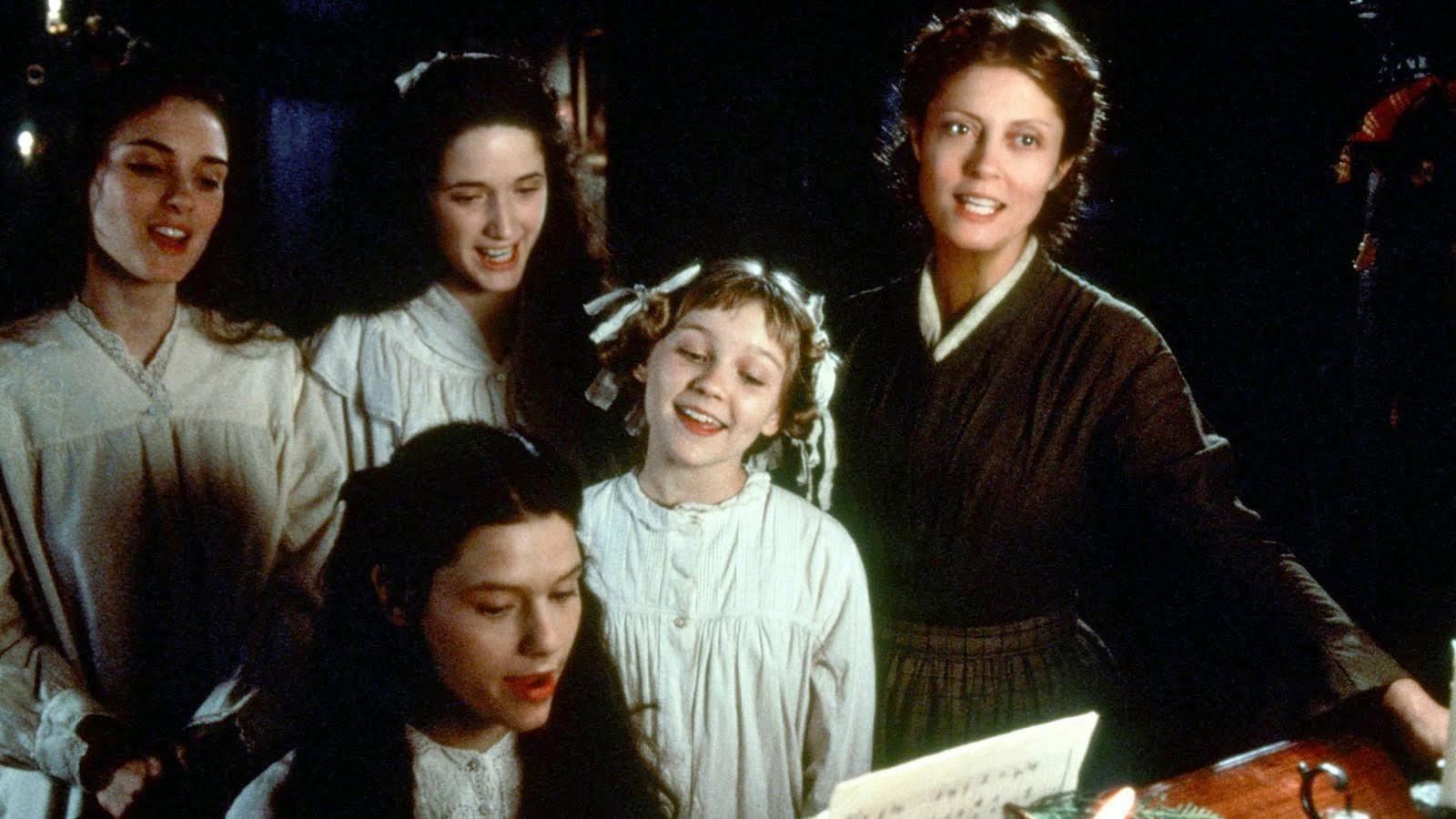 Susan Sarandon com Winona Ryder,  Kirsten Dunst, Claire Danes e  Trini Alvarado em Adoráveis Mulheres (1994) (Foto: Reprodução)